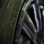 Closeup of Black AlloyGator alloy wheel protectors