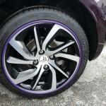 Purple AlloyGator alloy wheel protectors on a DS3
